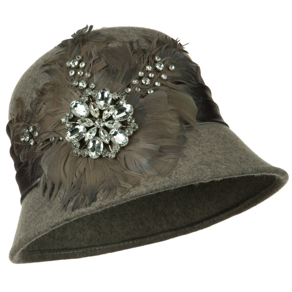 Wool Felt Cloche with Feathers Stones and Satin Band - Grey - Hats and Caps Online Shop - Hip Head Gear