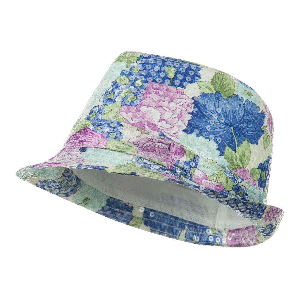 Floral Sequin Fedora - Blue - Hats and Caps Online Shop - Hip Head Gear