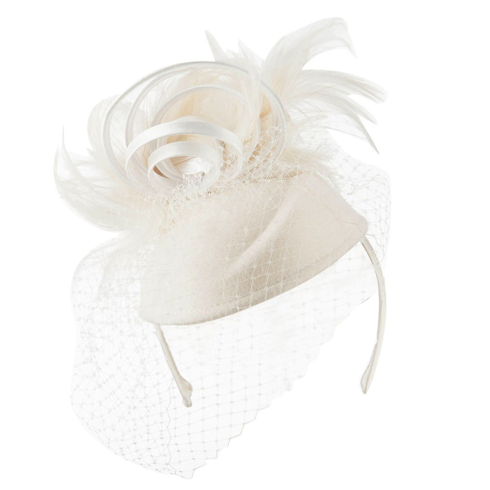 Wool Felt Fascinator with Feathers and Satin Loops - Ivory - Hats and Caps Online Shop - Hip Head Gear