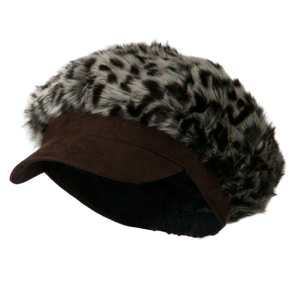 Animal Print Fur Newsboy and Scarf Set - Dark Brown Leopard - Hats and Caps Online Shop - Hip Head Gear