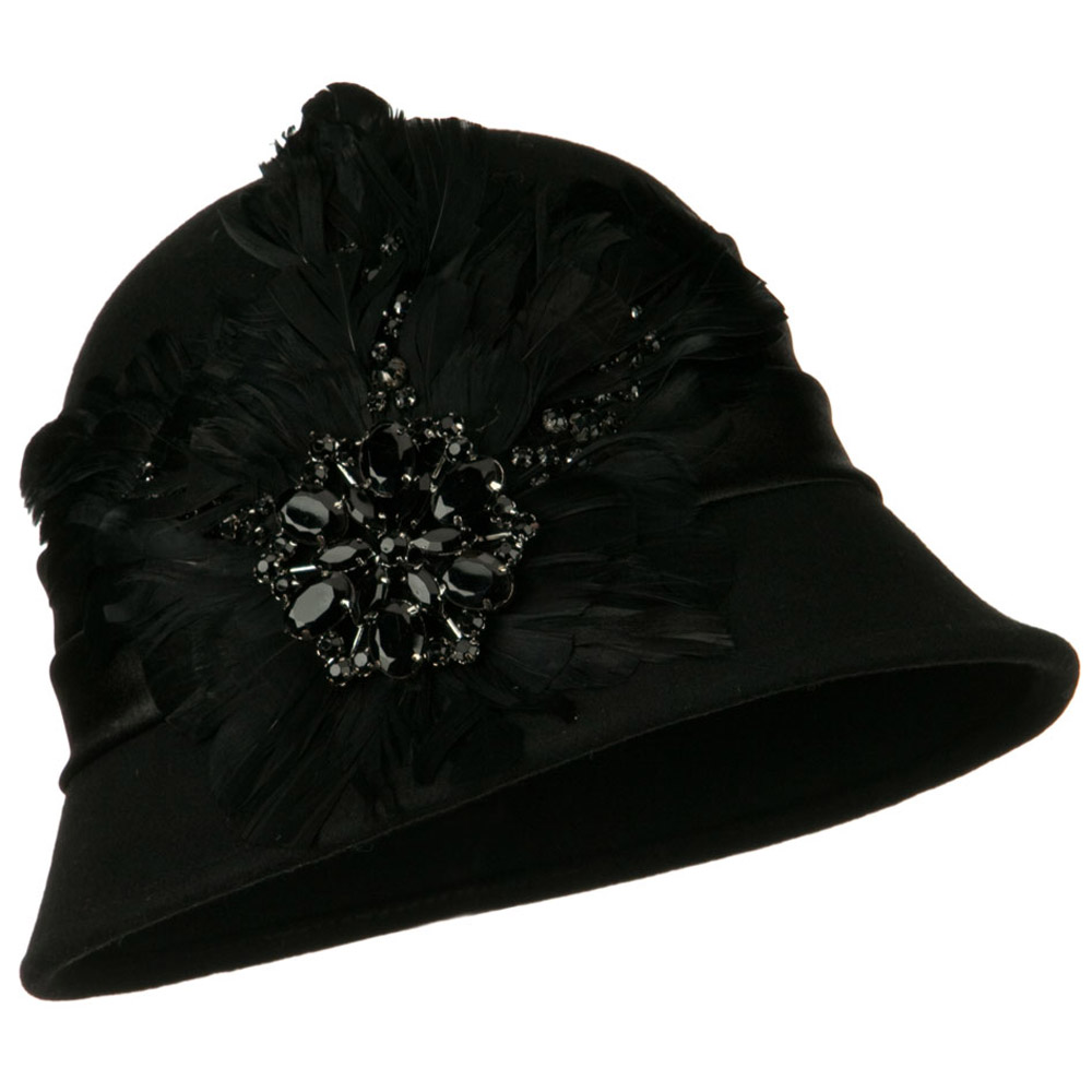 Wool Felt Cloche with Feathers Stones and Satin Band - Black - Hats and Caps Online Shop - Hip Head Gear