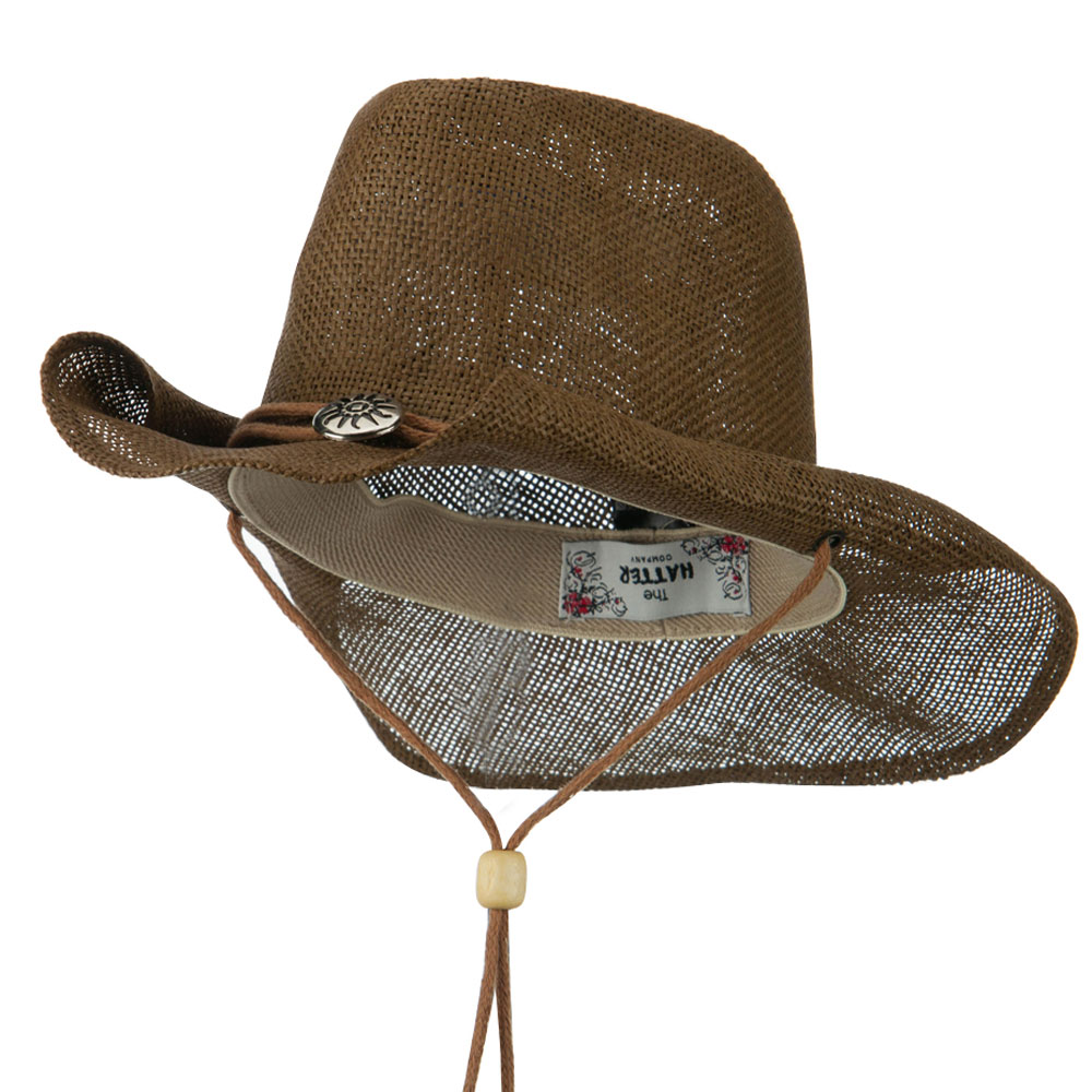 Fashion Straw Cowboy Hat with Chin Cord - Brown - Hats and Caps Online Shop - Hip Head Gear
