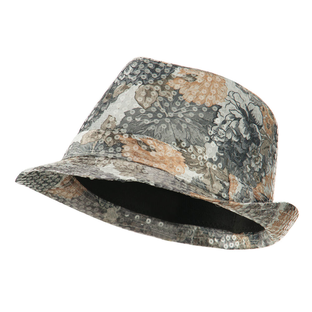 Floral Sequin Fedora - Grey - Hats and Caps Online Shop - Hip Head Gear