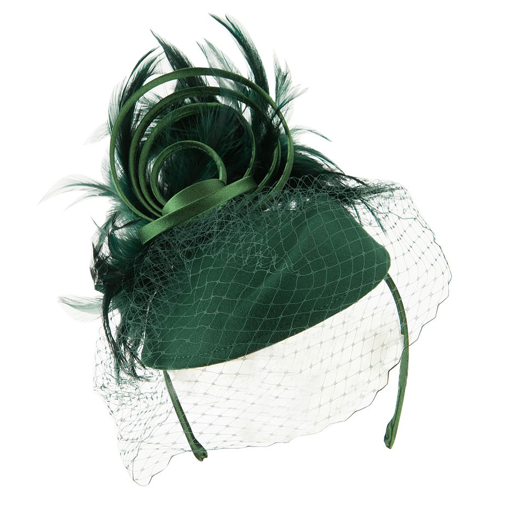 Wool Felt Fascinator with Feathers and Satin Loops - Green - Hats and Caps Online Shop - Hip Head Gear