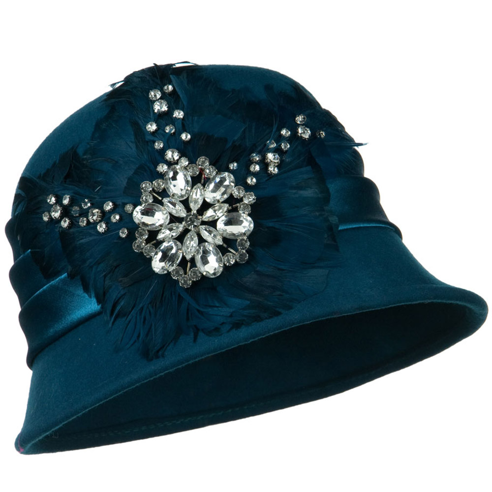 Wool Felt Cloche with Feathers Stones and Satin Band - Teal - Hats and Caps Online Shop - Hip Head Gear