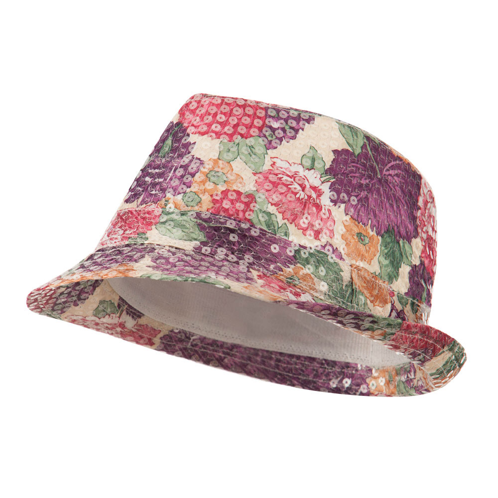 Floral Sequin Fedora - Fuchsia - Hats and Caps Online Shop - Hip Head Gear