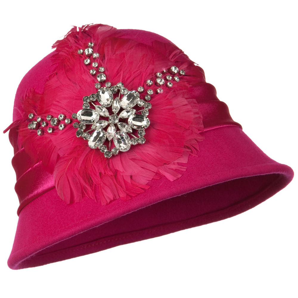 Wool Felt Cloche with Feathers Stones and Satin Band - Fuschia