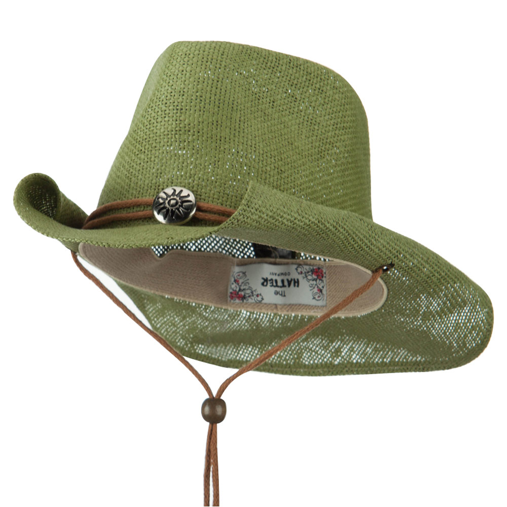 Fashion Straw Cowboy Hat with Chin Cord - Olive - Hats and Caps Online Shop - Hip Head Gear