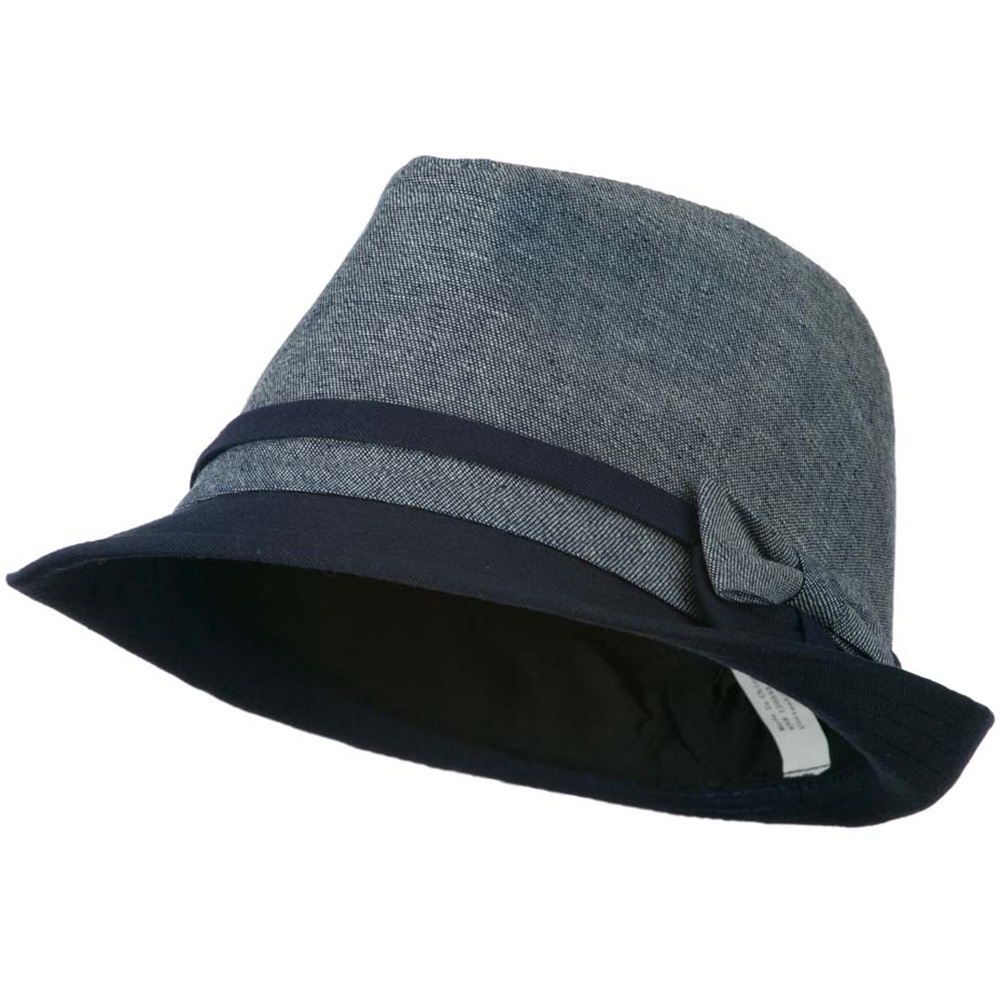 Girl's Fedora with Two Bow Accent - Navy - Hats and Caps Online Shop - Hip Head Gear