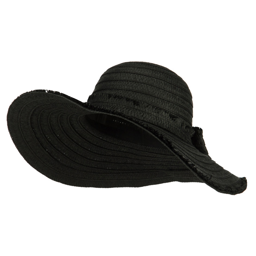 Fringed End Ribbon Straw Fashion Hat - Black - Hats and Caps Online Shop - Hip Head Gear
