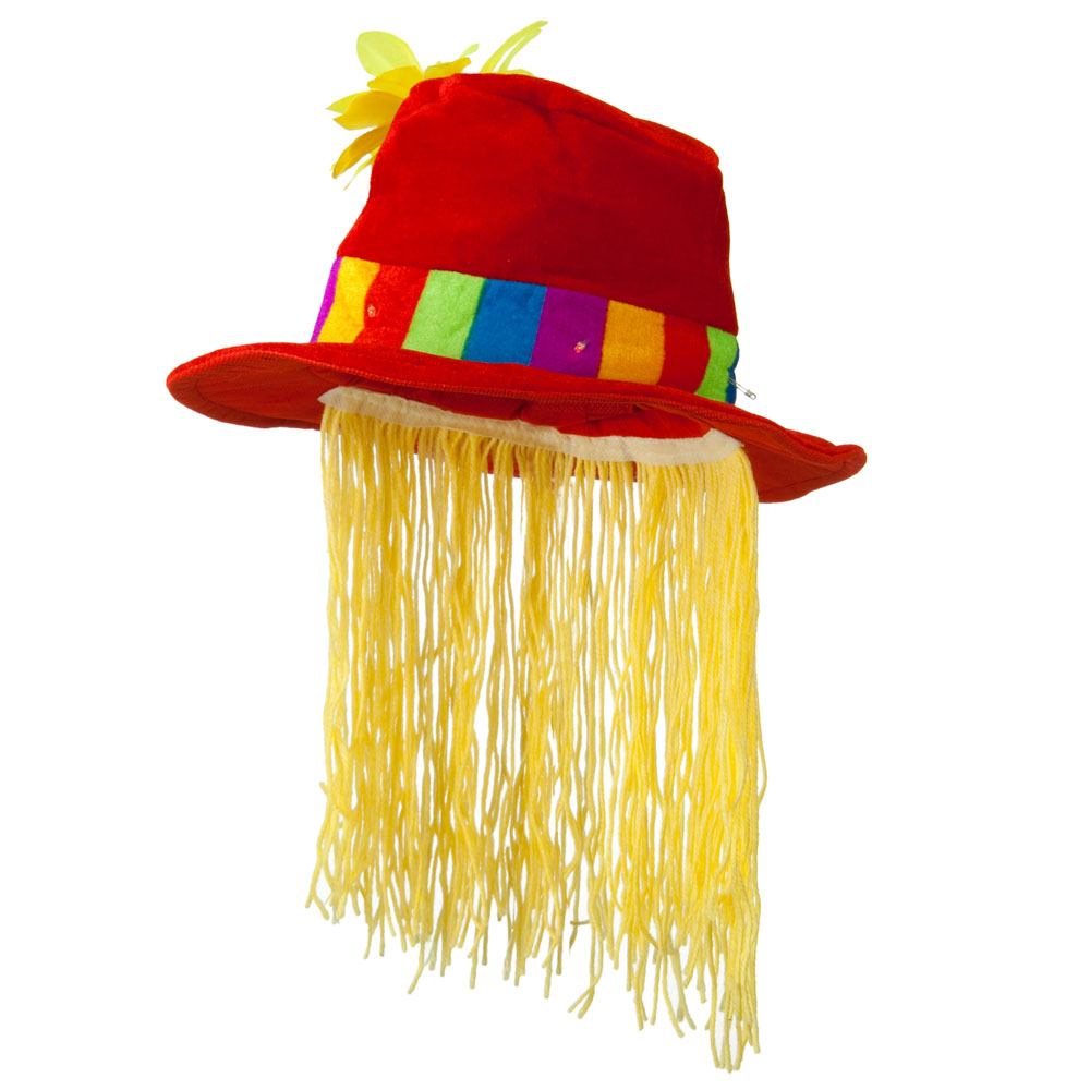 Flower Top Hat with Hair - Red Yellow
