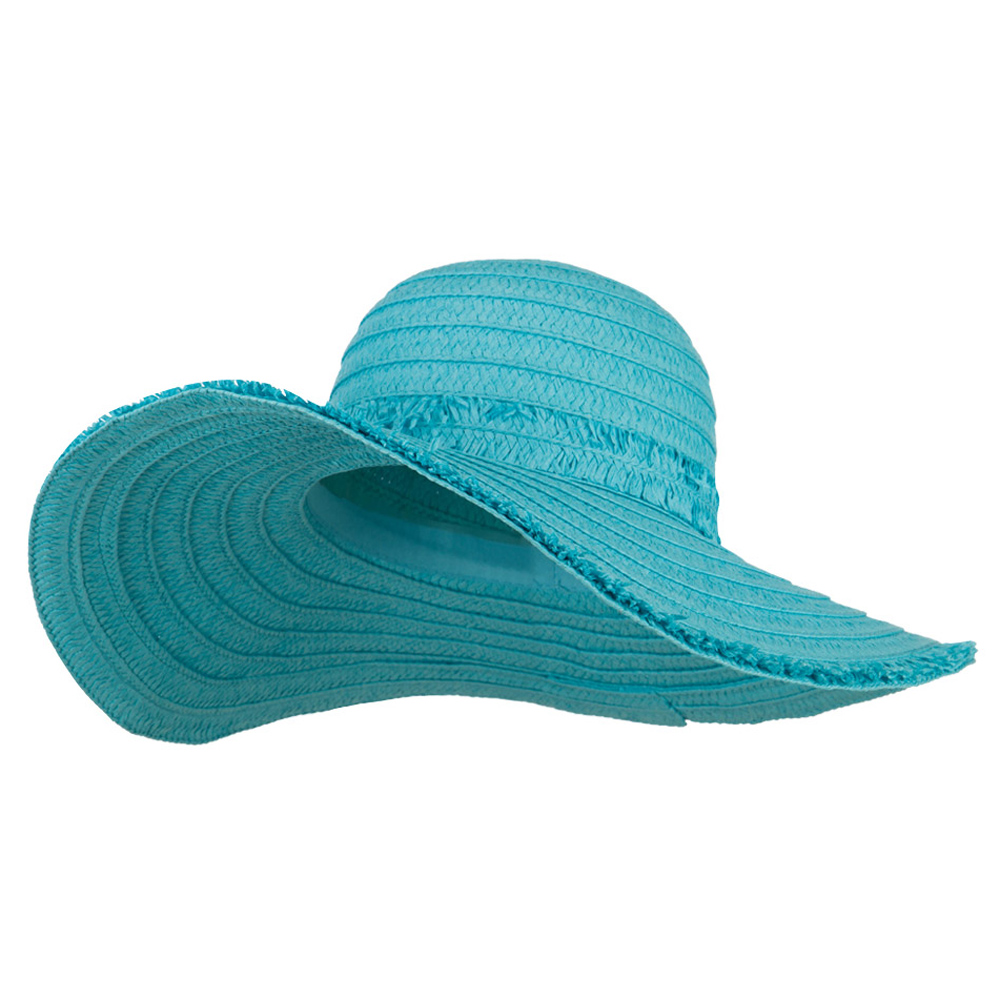 Fringed End Ribbon Straw Fashion Hat - Turquoise - Hats and Caps Online Shop - Hip Head Gear