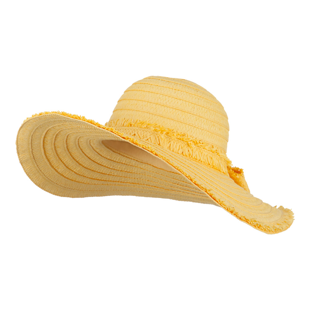 Fringed End Ribbon Straw Fashion Hat - Yellow - Hats and Caps Online Shop - Hip Head Gear