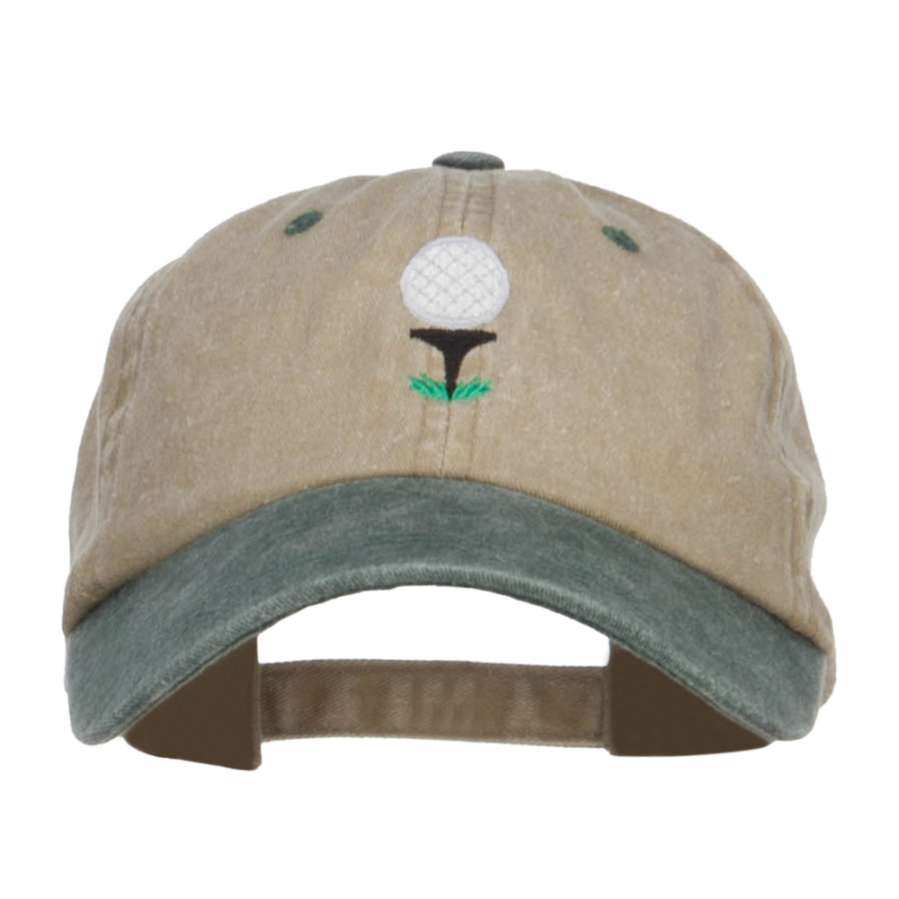 Golf Ball Tee Embroidered Washed Cap - Khaki Green