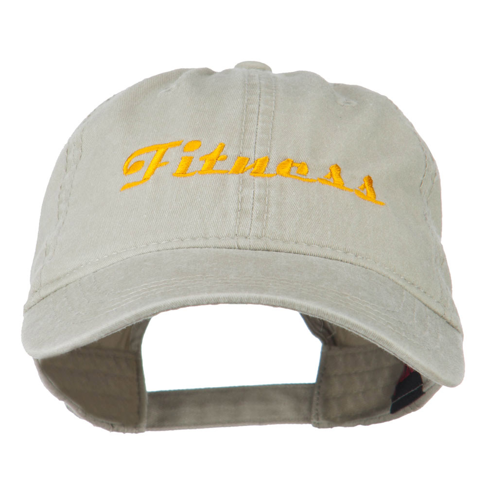 Fitness Wording Embroidered Cap - Khaki - Hats and Caps Online Shop - Hip Head Gear