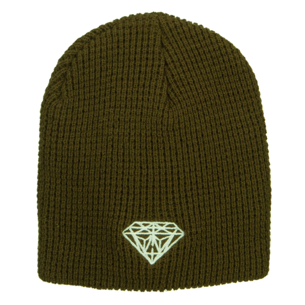 Big Size Diamond Embroidered Waffle Beanie - Olive