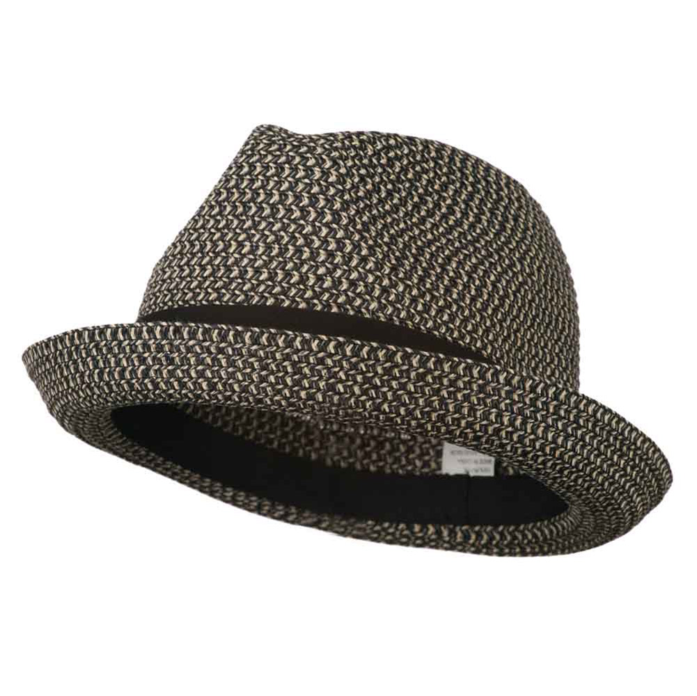 Men's Fedora with Paper Straw Braid - Black Grey - Hats and Caps Online Shop - Hip Head Gear