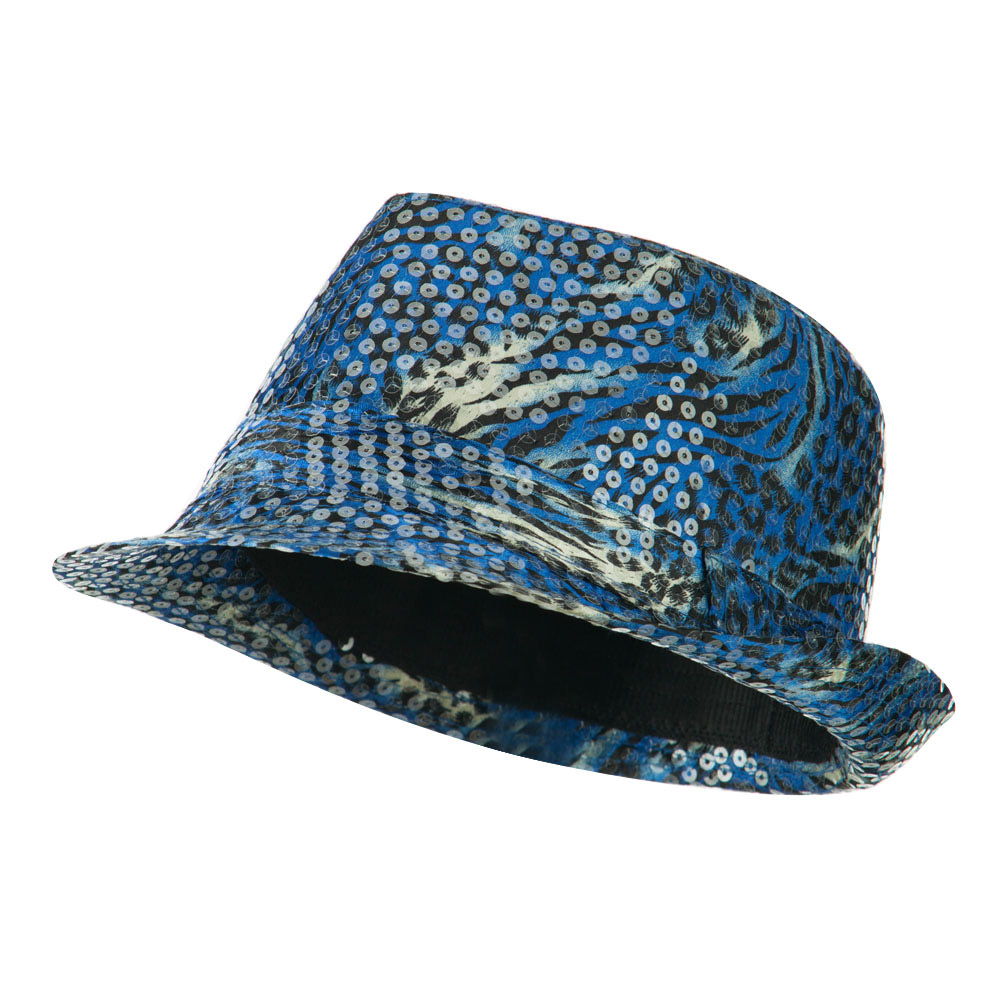 Fedora with Animal Print and Sequins Design - Blue - Hats and Caps Online Shop - Hip Head Gear