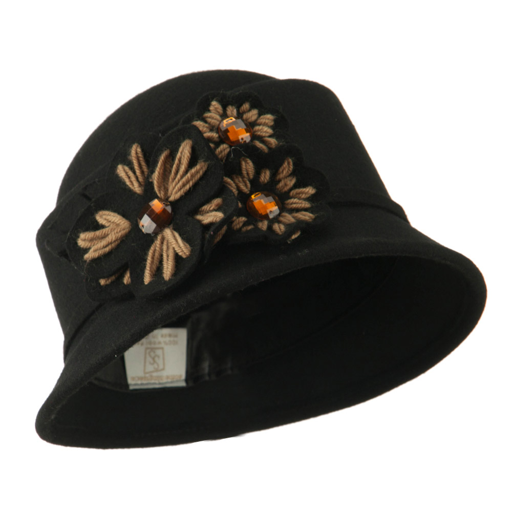Wool Felt Hat with Flower Trimming - Black - Hats and Caps Online Shop - Hip Head Gear