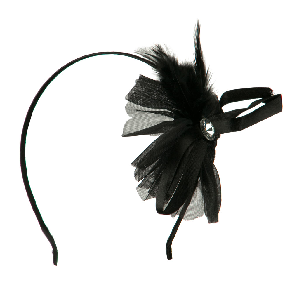 Flower Headband with Feather - Black - Hats and Caps Online Shop - Hip Head Gear