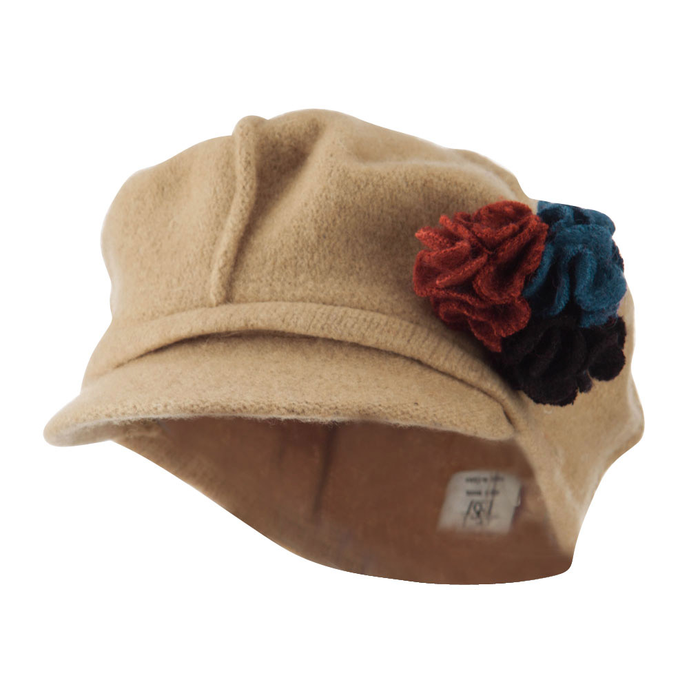Flower Trim Wool Newsboy Cap - Camel - Hats and Caps Online Shop - Hip Head Gear