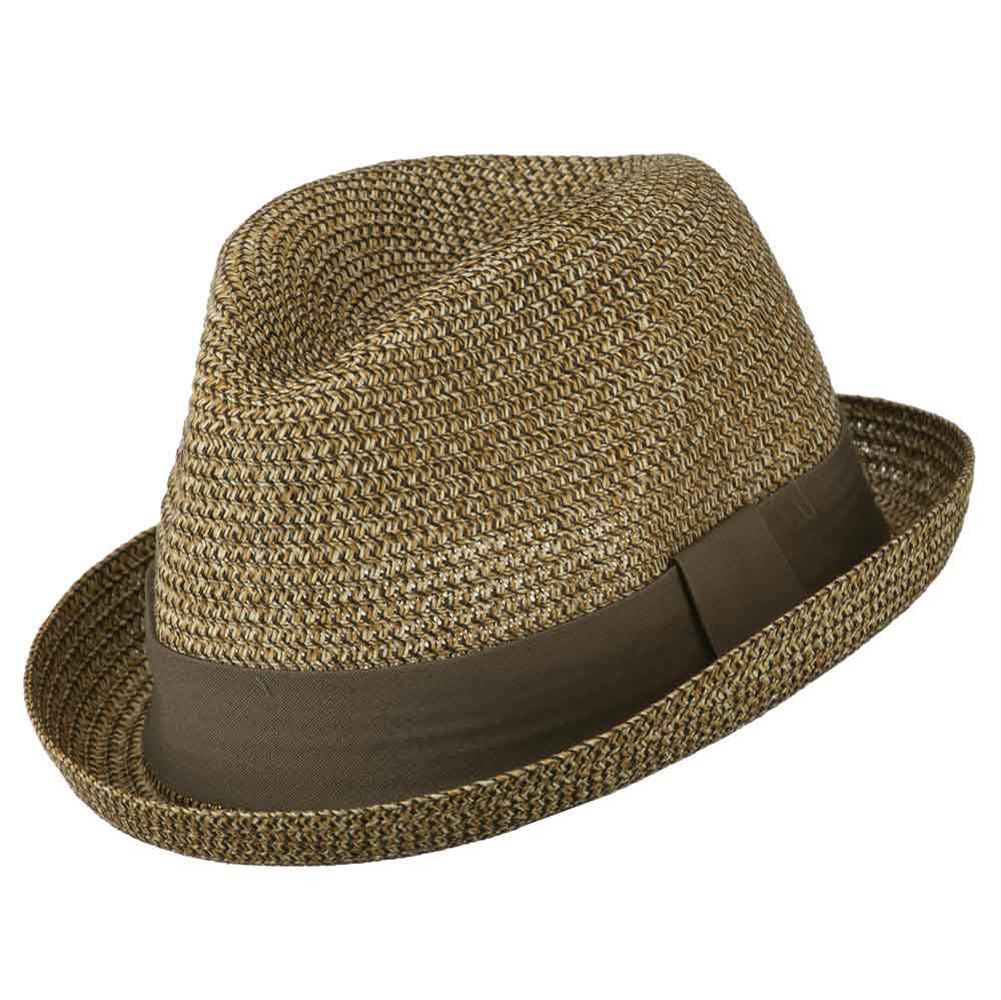 Men's Fedora with Paper Straw Braid - Brown - Hats and Caps Online Shop - Hip Head Gear