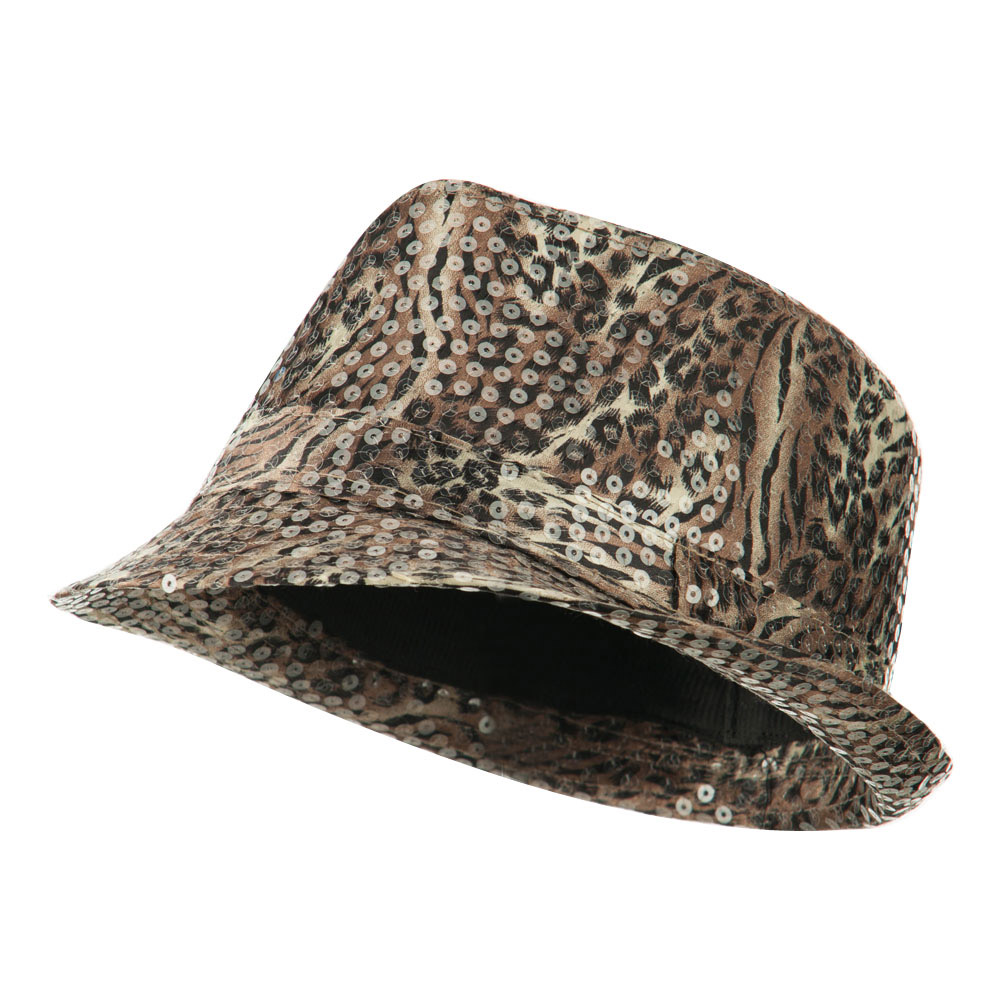 Fedora with Animal Print and Sequins Design - Brown - Hats and Caps Online Shop - Hip Head Gear