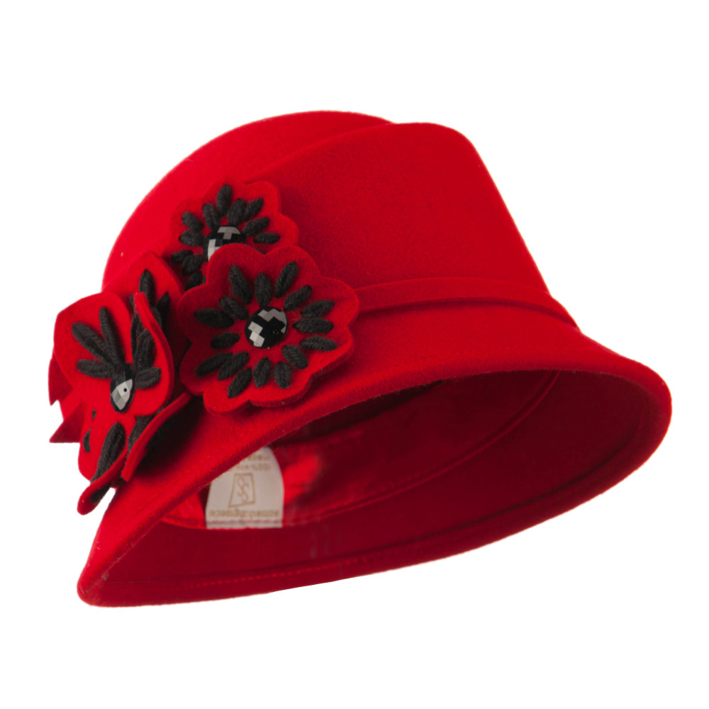 Wool Felt Hat with Flower Trimming - Red - Hats and Caps Online Shop - Hip Head Gear