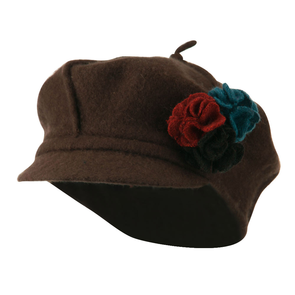 Flower Trim Wool Newsboy Cap - Brown - Hats and Caps Online Shop - Hip Head Gear