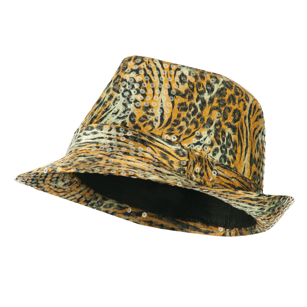 Fedora with Animal Print and Sequins Design - Gold - Hats and Caps Online Shop - Hip Head Gear