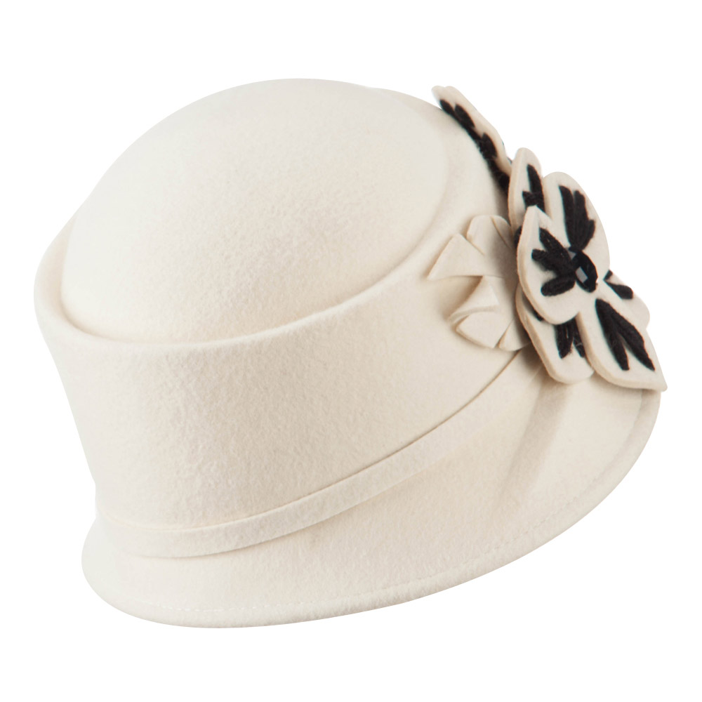 Wool Felt Hat with Flower Trimming - Ivory - Hats and Caps Online Shop - Hip Head Gear