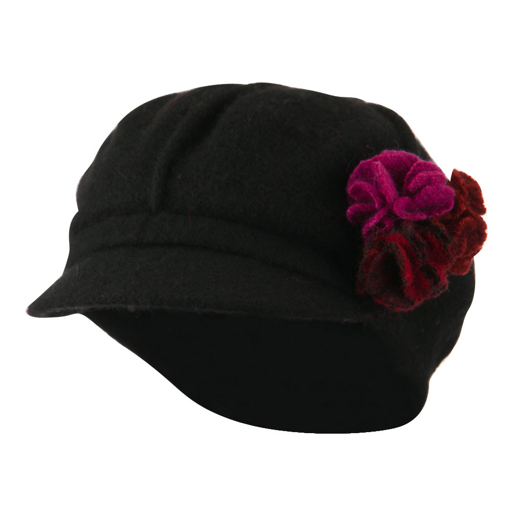 Flower Trim Wool Newsboy Cap - Black - Hats and Caps Online Shop - Hip Head Gear