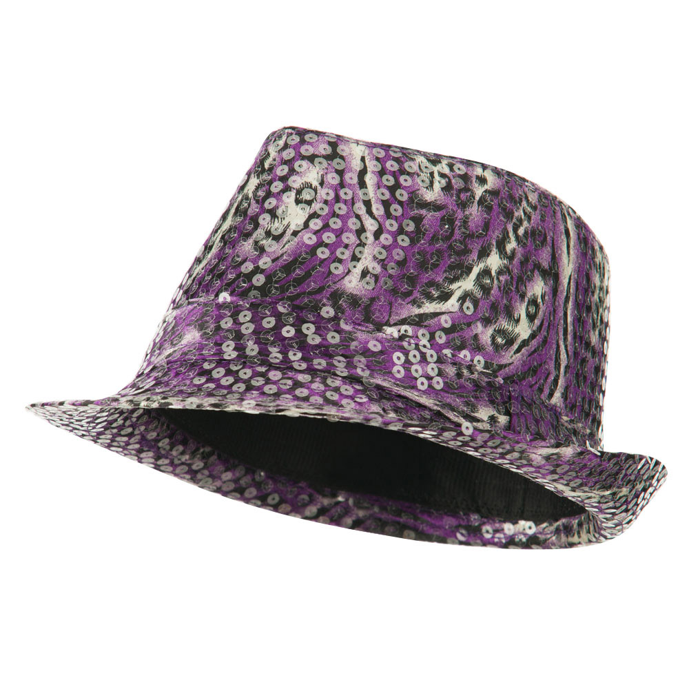 Fedora with Animal Print and Sequins Design - Purple - Hats and Caps Online Shop - Hip Head Gear