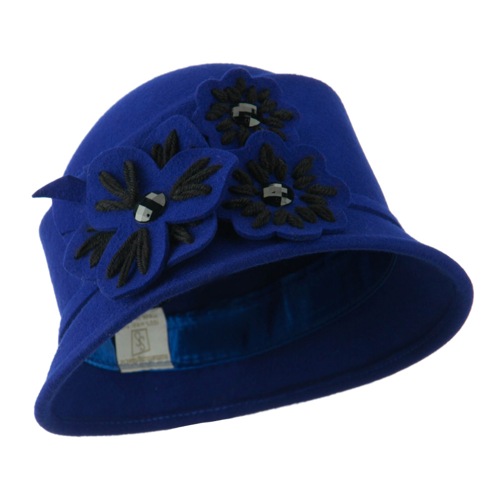 Wool Felt Hat with Flower Trimming - Blue - Hats and Caps Online Shop - Hip Head Gear