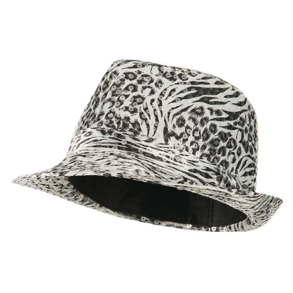 Fedora with Animal Print and Sequins Design - White - Hats and Caps Online Shop - Hip Head Gear