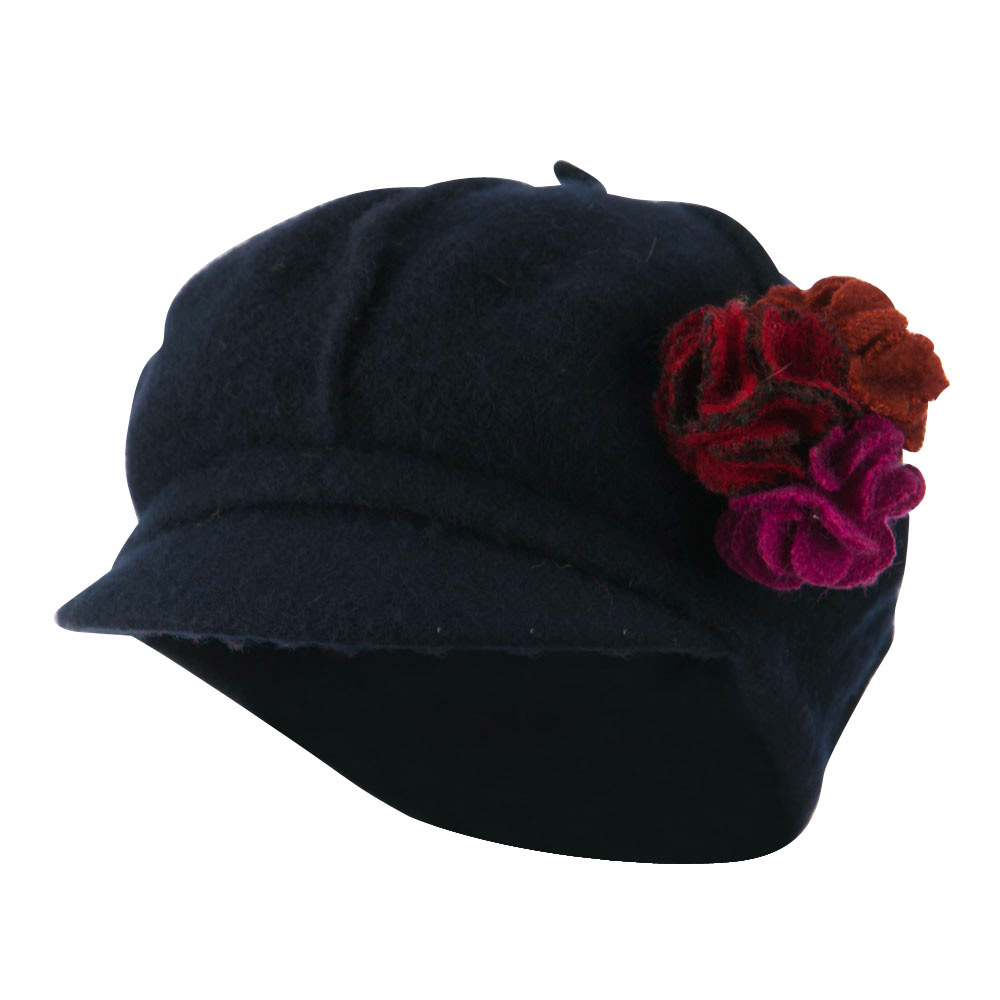 Flower Trim Wool Newsboy Cap - Navy - Hats and Caps Online Shop - Hip Head Gear