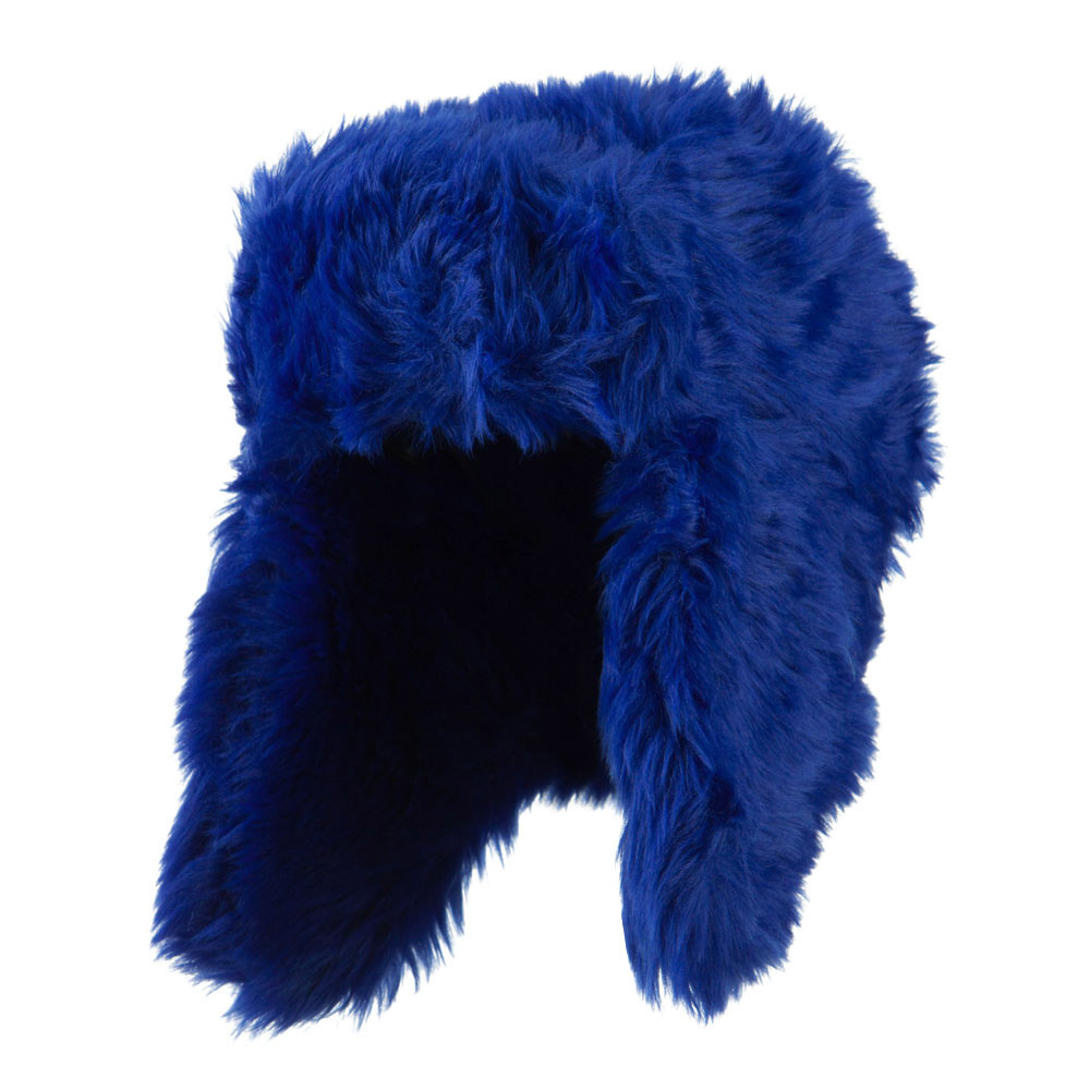 Faux Fur Color Trooper Hat - Blue - Hats and Caps Online Shop - Hip Head Gear