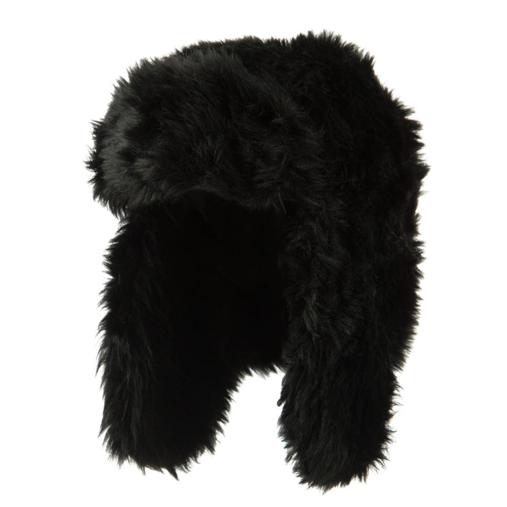 Faux Fur Color Trooper Hat - Black - Hats and Caps Online Shop - Hip Head Gear