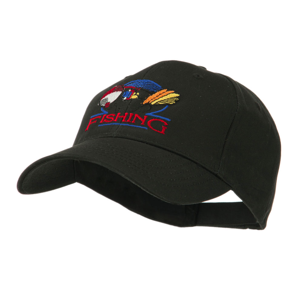 Fishing Fly and Bobber Embroidered Cap - Black - Hats and Caps Online Shop - Hip Head Gear