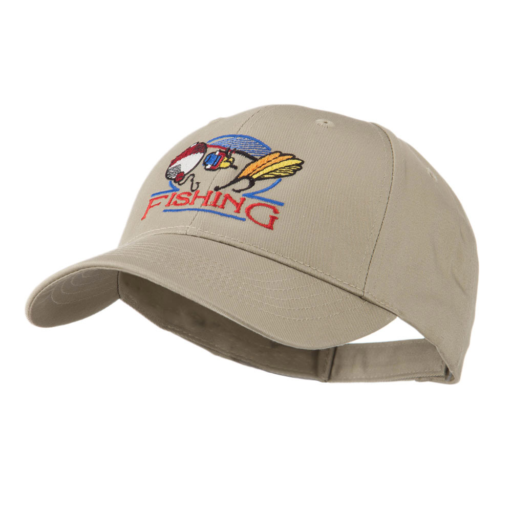 Fishing Fly and Bobber Embroidered Cap - Khaki - Hats and Caps Online Shop - Hip Head Gear