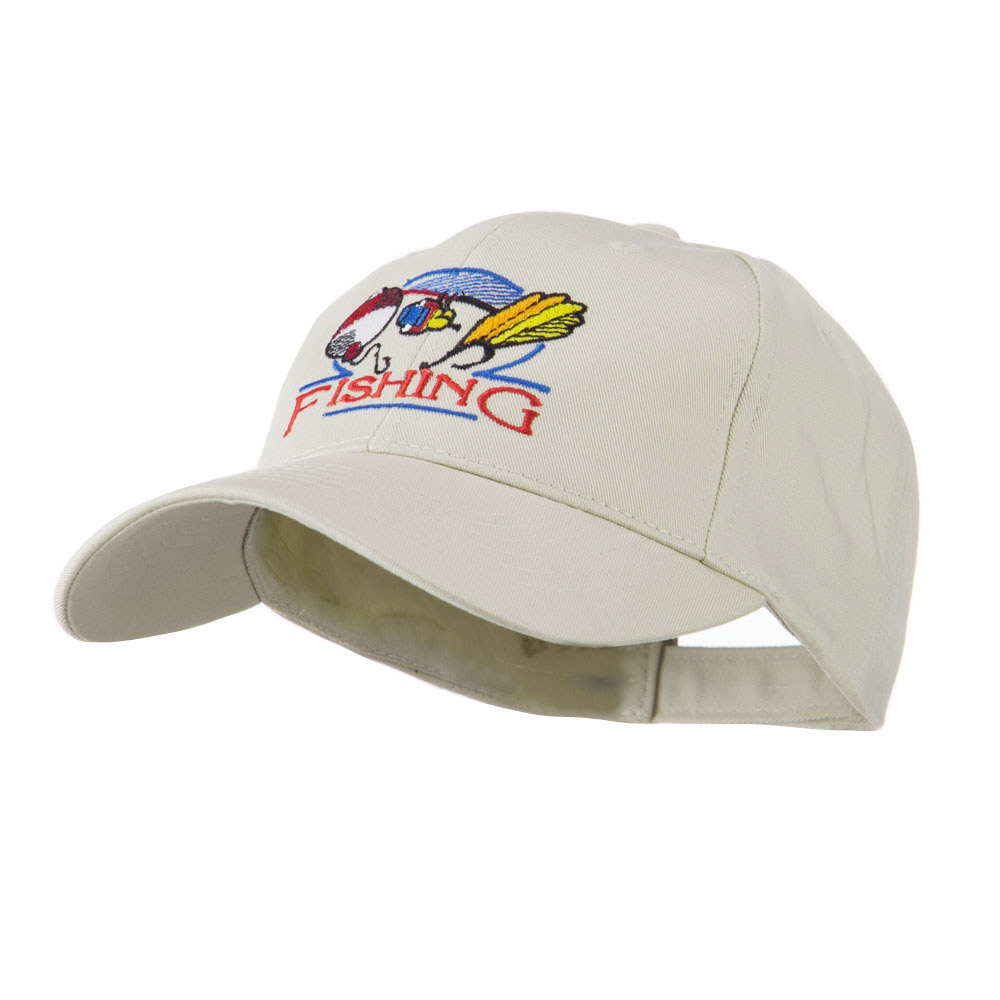 Fishing Fly and Bobber Embroidered Cap - Stone - Hats and Caps Online Shop - Hip Head Gear