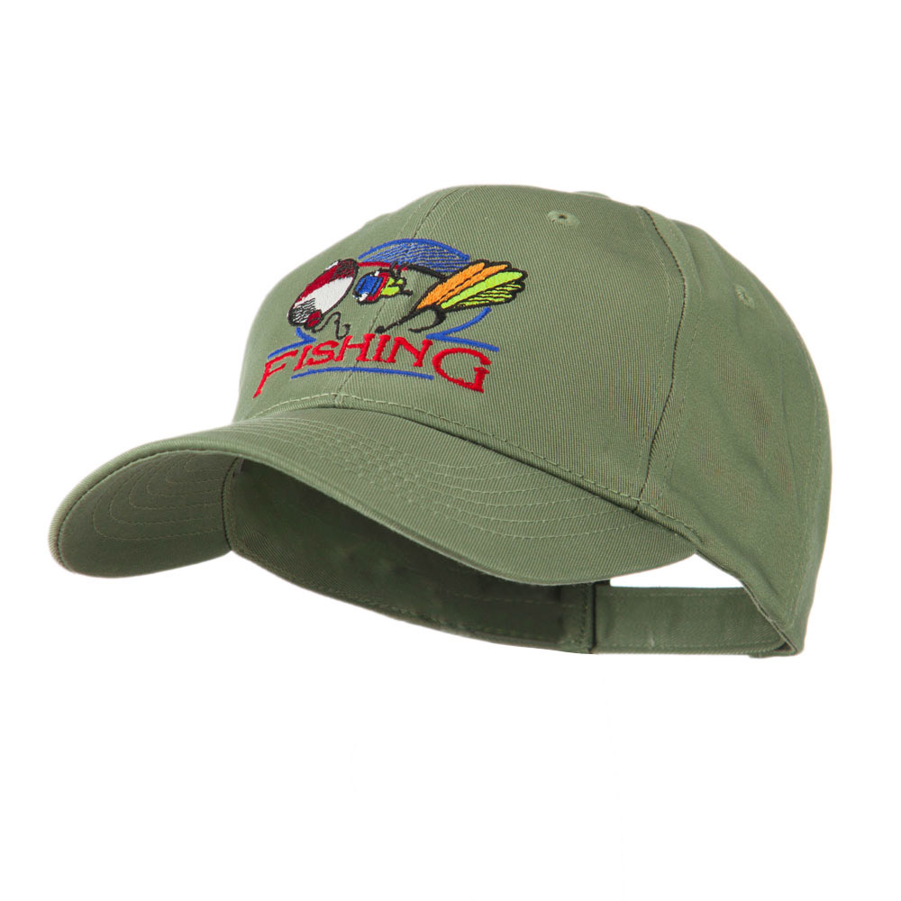 Fishing Fly and Bobber Embroidered Cap - Olive - Hats and Caps Online Shop - Hip Head Gear