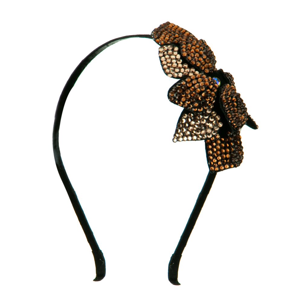 Flower Rhinestone Headband - Bronze - Hats and Caps Online Shop - Hip Head Gear