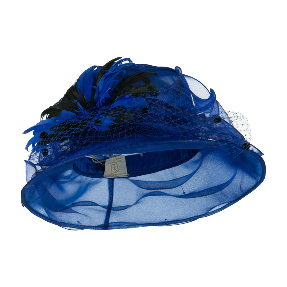 bbdfd8a30dd Double Glass Two Tone Feathers Organza Hat - Blue