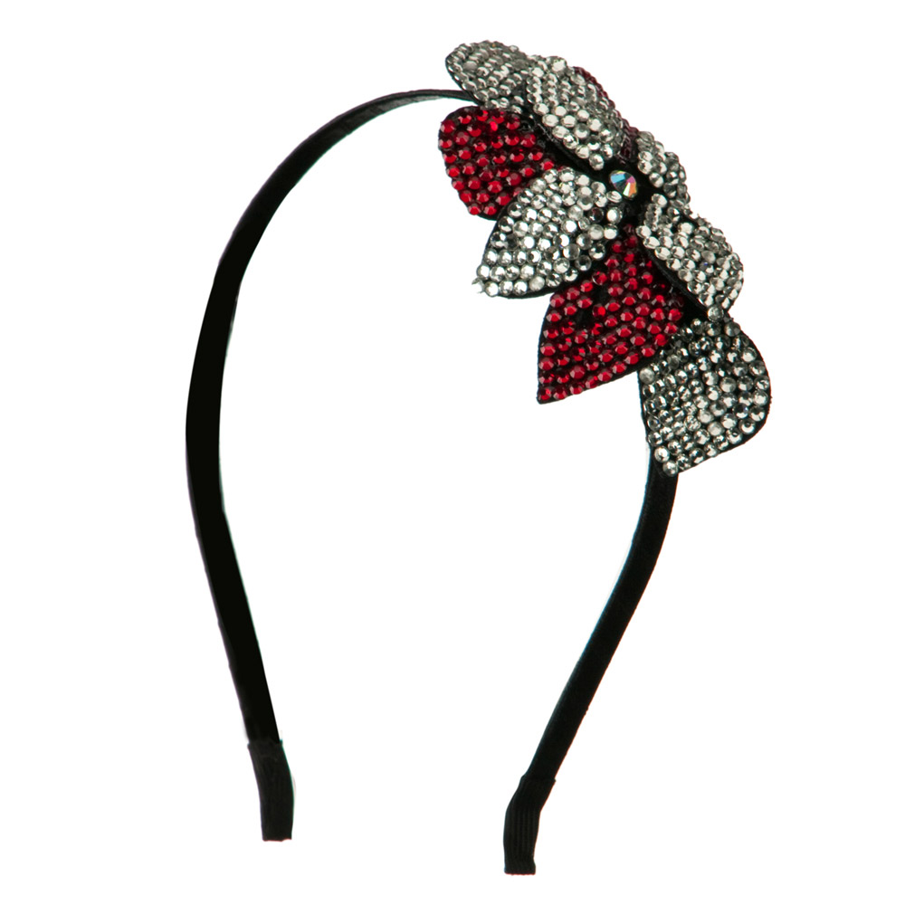 Flower Rhinestone Headband - Red - Hats and Caps Online Shop - Hip Head Gear