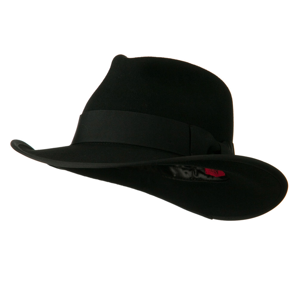 Grosgrain Ribbon Band Man's Fedora Hat - Black - Hats and Caps Online Shop - Hip Head Gear