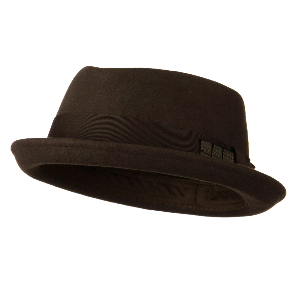 Man's Grosgrain Band Felt Fedora - Brown - Hats and Caps Online Shop - Hip Head Gear