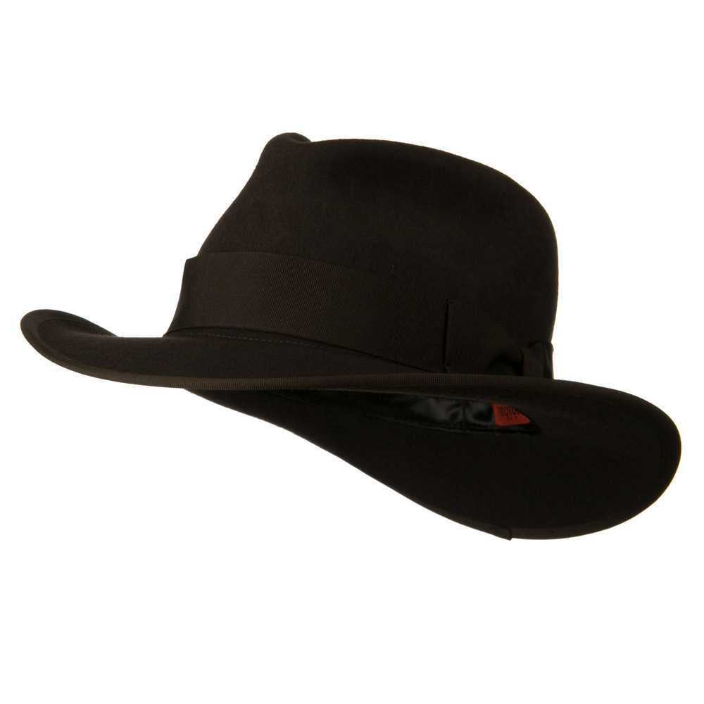 Grosgrain Ribbon Band Man's Fedora Hat - Brown - Hats and Caps Online Shop - Hip Head Gear