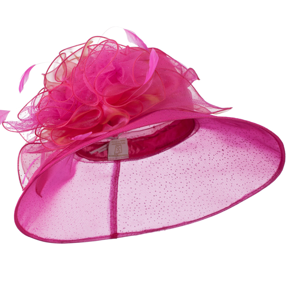 Glitter Bow Accent Organza Hat - Fuchsia - Hats and Caps Online Shop - Hip Head Gear