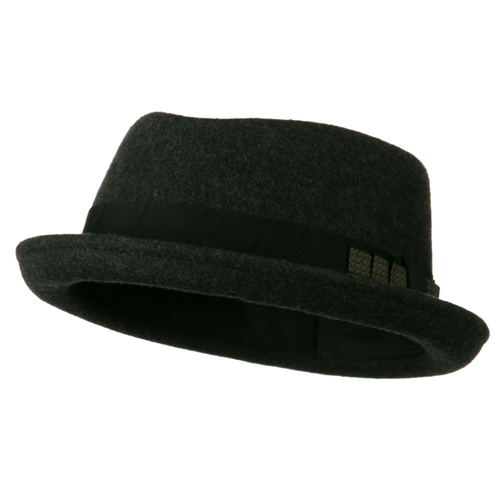 Man's Grosgrain Band Felt Fedora - Charcoal - Hats and Caps Online Shop - Hip Head Gear